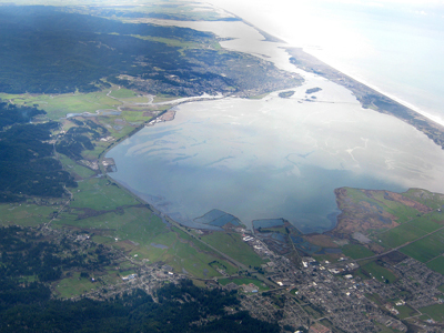 Aerial photo of Humboldt Bay by Bob Brown, who serves on the City of Arcata's Wetlands and Creeks Committee, 2010