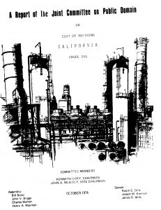 Cover of the 1974 report on the cost of refining CA crude oil