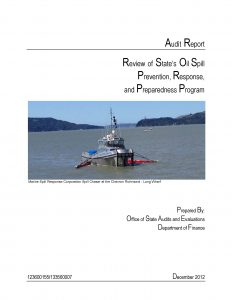 Cover of the DOF Oil spill report for 2012